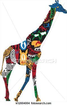 キリン, 中に, ∥, アフリカ, 民族, patte 拡大イラストを見る