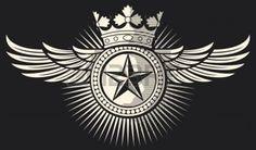 texas star: star, crown and wings tattoo  tattoo design, star badge, star symbol