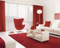 Red and white modern living room decor Red Room Decor, Red Living Room Decor, Modern White Living Room, Modern Room, Red Curtains Living Room, House Decoration Items, Red Rooms, Room Rugs, Fashion Room
