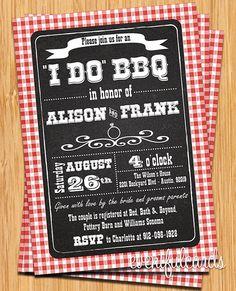 Red & White Checkered I Do BBQ Printable Invitation
