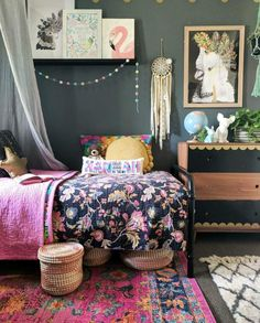Very lovely boho kids room - lots of colour, texture and character Girls Bedroom, Bedroom Decor, Childs Bedroom, Kid Bedrooms, Fantasy Bedroom, Boho Room, Kids Room Design, Little Girl Rooms, My New Room