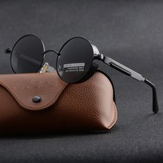 ed22e878fa8 Vintage Polarized Steampunk Sunglasses Mens Brand Design Round UV400 Sun  glasses
