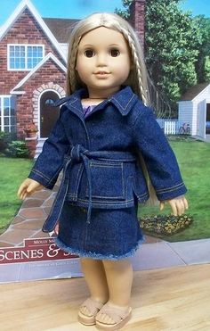 American Girl doll Julie 1974 | Denim coordinates 1974 | american girl doll Julie keepers dolly duds- denim jackets were casual wear for fall. Even men and boys wore them. Girls/women would probably wear them with a sash or without.