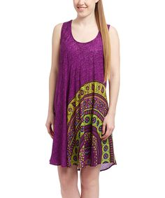 Coline USA Purple & Yellow Arabesque Shift Dress - Women by Coline USA #zulily #zulilyfinds