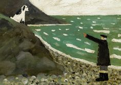 "'Heel' by Gary Bunt ""I like to wind my master up He gets an angry frown I love to sit upon the rocks Refusing to come down"" Art Brut, English Artists, Dog Illustration, Dog Paintings, Naive Art, Outsider Art, Matisse, Dog Art, Van Gogh"