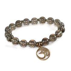 Natural Bronze Om Smokey Quartz  Intention Bracelet  by LarisJewelryDesigns #etsymnttig #etsymnttgfher #etsymnttgfn #etsymnttaaca #etsymnttbgt #etsymnttaaca