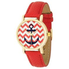 Betsy Nautical Red Leather Watch