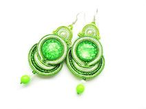Soutache earrings with acrylic stones. In green