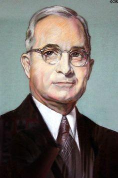 Portrait of Harry S. Truman by Margaret Truman at Truman Birthplace House. Lamar, MO.    ❤❤❤ ❤❤❤❤❤❤❤  http://en.wikipedia.org/wiki/Margaret_Truman   http://en.wikipedia.org/wiki/Harry_S._Truman    http://www.whitehouse.gov/about/presidents/harrystruman