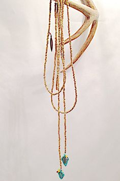 Natural Metallic Seed Bead Wrap Necklace with Turq Howlite Leaf Accents