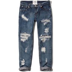 Abercrombie & Fitch One Teaspoon Awesome Baggies Jeans (€125) ❤ liked on Polyvore featuring jeans, pants, bottoms, destroyed medium wash, baggy jeans, rock and roll jeans, ripped jeans, destructed boyfriend jeans and boyfriend jeans