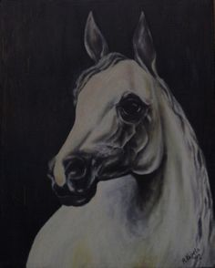 """Head of white horse"" Oil painting by Andrzej Kapela 1992"