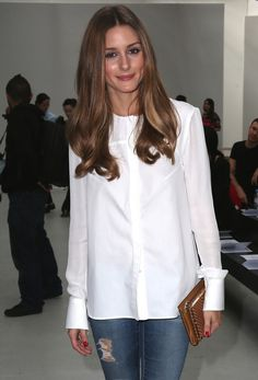 @roressclothes clothing ideas #women fashion Olivia Palermo White Button Down Shirt