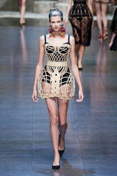 Original bustier made of wicker. Dolce & Gabbana Spring 2013