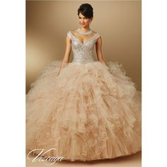 Quinceanera Dresses – Vizcaya Gown Dress Style 89052 ❤ liked on Polyvore featuring dresses, beige dress, ruffle dress, flounce dress, frilly dress and tulle dress