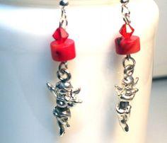 Red Cherub Swarovski Crystal Earrings