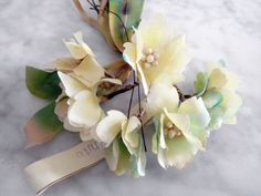 Vintage 1950's millinery flowers leaves 3 pc shabby pearl centers Germany