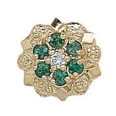 14k White or Yellow Gold Emerald Diamond Victorian Bracelet Slide GS099-D-E  #bracelet #slide #emerald