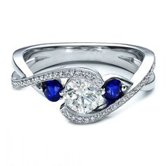 Twisted Diamond Engagement Ring blue sapphire Side stones - ES938BRWG