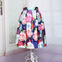 European Fashion Womens Elastic Waist Floral Printed Knee-length Pleated Skirt