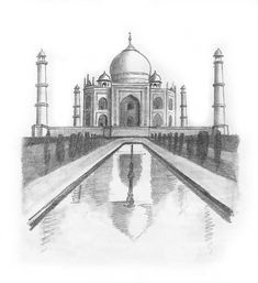 Taj Mahal drawing Pencil Sketches Landscape, Pencil Sketch Drawing, Landscape Drawings, Architecture Drawings, Pencil Art Drawings, Scenery Drawing Pencil, Movement Architecture, Architecture Portfolio, Taj Mahal Sketch