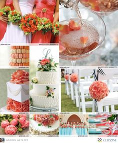 Love the coral carnations for the flower balls instead of roses. Cheaper & still beautiful when used this way. Navy striped ribbon is bonus