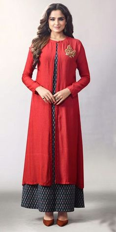 Trendy Red Georgette Kurti.