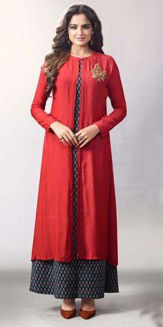 Trendy Red Georgette Kurti.