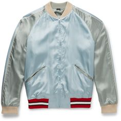 Gucci Reversible Embroidered Satin Bomber Jacket (222975 RSD) ❤ liked on Polyvore featuring mens, men's clothing, men's outerwear and men's jackets