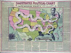 Illustrated political chart, a cartoon of American politics and the Tapeworm Party Fine Art Prints, Framed Prints, Canvas Prints, Image American, United States Map, Vintage Maps, A Cartoon, Political Cartoons, Poster Size Prints
