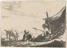 Anonymous | Figuren bij een tent, Anonymous, 1653 - 1703 | Een zittende vrouw met een spinrok in de hand in gesprek met een liggende man, leunend op zijn elleboog, voor een tent. In de tent nog een derde figuur, links een ezel, een schaap en een geit.