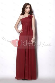 Charming Empire One-Shoulder Sleeveless Floor-Length Natilies Dress...military ball approved :)