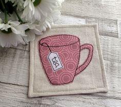 Pink Fabric Drinks Coaster - Mug Coaster - Tea Cup Coaster - Table Decoration - Beverage Coaster by TheCornishCoasterCo on Etsy