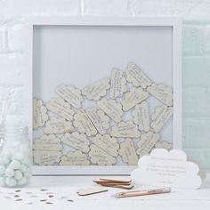 Houten frame gastenboek wolkjes - DE GELE FLAMINGO - Kids concept store