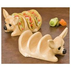 This is how I serve my tacos, in my ceramic Chihuahua taco holders I got in San Juan Capistrano with the matching chihuahua bowls.