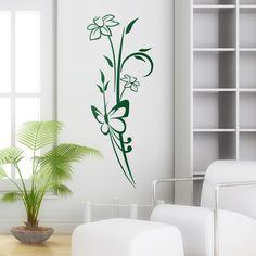 Mariposa y Flores - VINILOS DECORATIVOS #decoracion #teleadhesivo