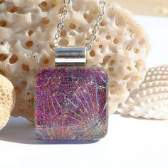 Small Dichroic Glass Pendant Fused Glass Jewelry by IntoTheLight, $20.00