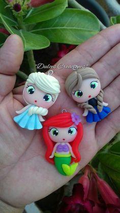 Princesas en Porcelana Fría. Elza,Ariel y Ana. Hechas por Mary Reyes De Dulces Creaciones