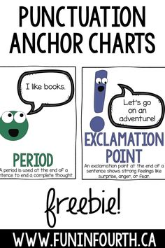 Semicolons, Cupcakes, and Cucumbers is an excellent book to teach students about types punctuation. These freebie posters or anchor charts make a great companion to the text. Simply print and display! #Punctuation #AnchorCharts