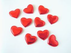 5 Metallic faux leather heart appliques Blue metallic hearts #crafts #hearts
