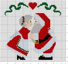 Santa and his wife Mrs Claus - Christmas perler bead pattern: Cross Stitch Christmas Ornaments, Xmas Cross Stitch, Christmas Embroidery, Christmas Knitting, Christmas Cross, Cross Stitch Charts, Cross Stitch Designs, Cross Stitching, Cross Stitch Embroidery
