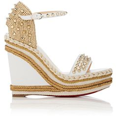Christian Louboutin Women's Madmonica Leather Wedge Espadrille Sandals ($795) ❤ liked on Polyvore featuring shoes, sandals, white, open toe sandals, white leather shoes, white ankle strap sandals, espadrille sandals and white platform sandals