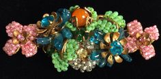 Enchanting Vintage Miriam Haskell Brooch Pin~Multi-Color-Art Glass/Seed Beads/Rhinestones/Gilt Filigree~Signed by TyTimelessSparkles on Etsy https://www.etsy.com/listing/237487408/enchanting-vintage-miriam-haskell-brooch