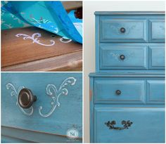 How to Create a Raised Stencil Design on Furniture or ANY Flat surface with $3 Spackle!