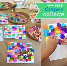 Easy shapes collage art and math activity A really easy and effective way to learn about shapes, combining art and math to make a shape collage. Good STEAM lesson plan for young children. Kids Crafts, Toddler Crafts, Projects For Kids, Arts And Crafts, Art Projects, Shape Collage, Shape Art, Collage Art, Paper Collages