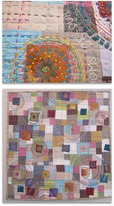 """And the Angels Sang"" by Debby Schnabel, Housetop Quilts exhibit: linen, cotton, silk, wool, and kantha-style embroidery"