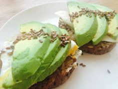 My healthy breakfast for shiny hair and skin and perfect shape: protein bread, cream cheese, egg, avocado and seeds