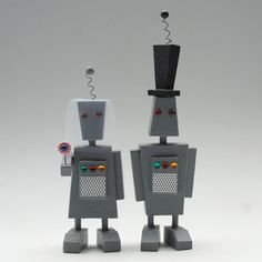 robot wedding cake toppers from bunnywithatoolbelt.com