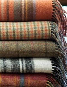 wool blankets in yummy fall colors