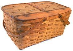 Great Old Vintage Primitive Oak Woven Oak Splint Picnic Basket Vintage Picnic Basket, Tins, Primitive, Tin Cans, Couture Facile, Primitives, Vintage
